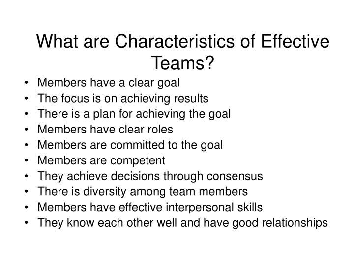 What are Characteristics of Effective Teams?