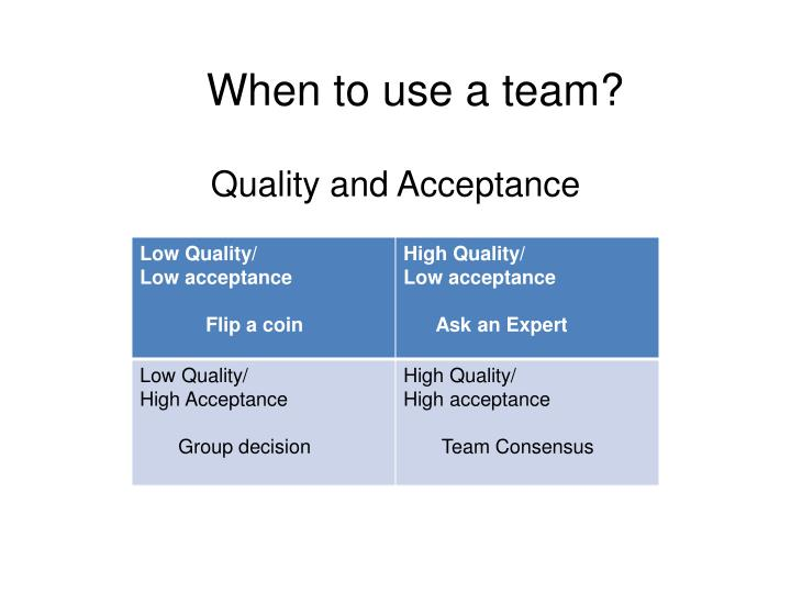 When to use a team?