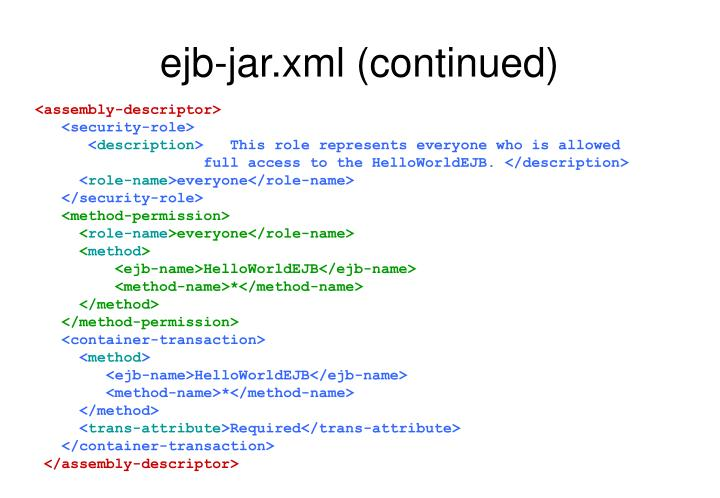 ejb-jar.xml (continued)