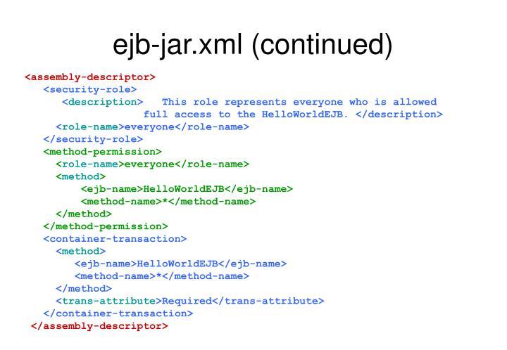 ejb-jar.xml (continued)