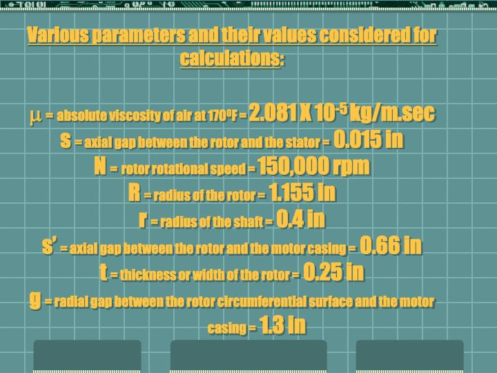 Various parameters and their values considered for calculations