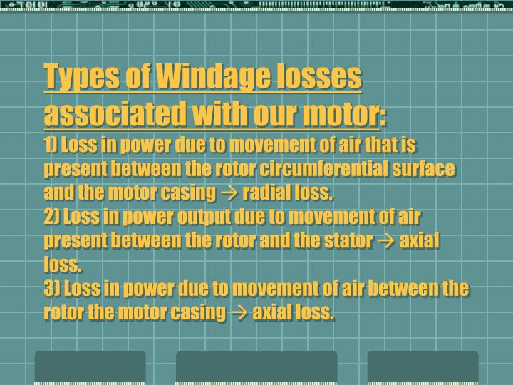 Types of Windage losses associated with our motor