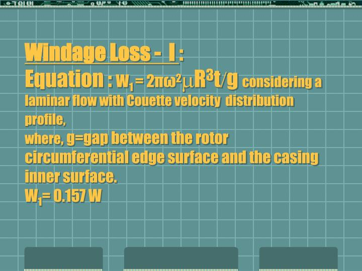 Windage Loss -  I