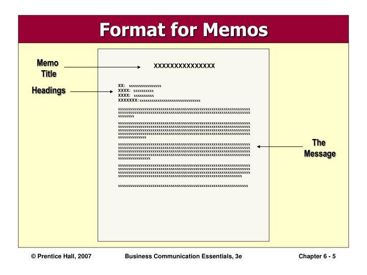 Format for Memos