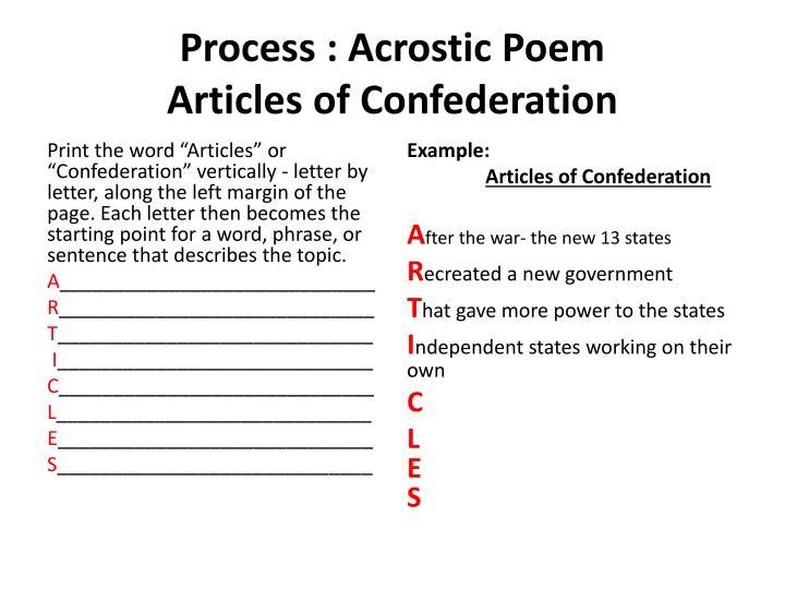 Process : Acrostic Poem