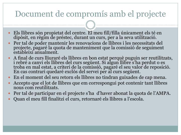 Document de compromís amb el projecte