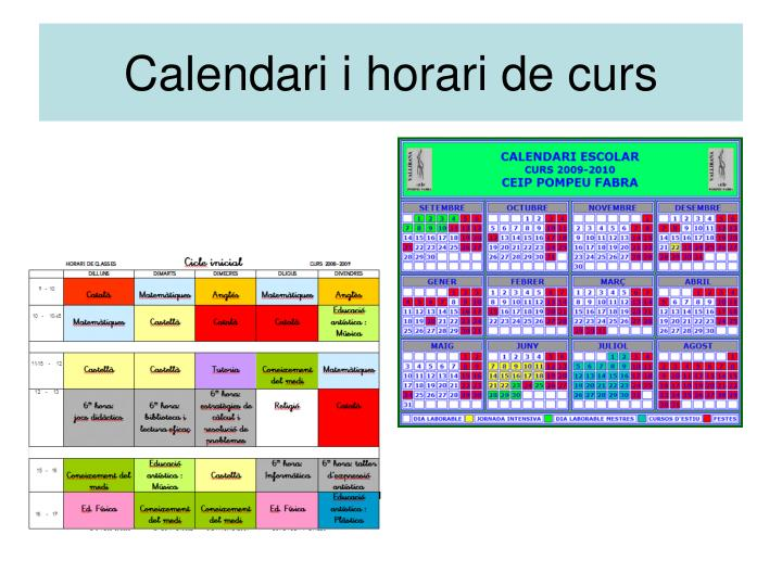 Calendari i horari de curs