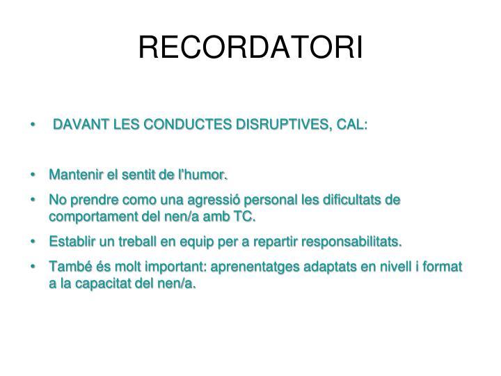 RECORDATORI