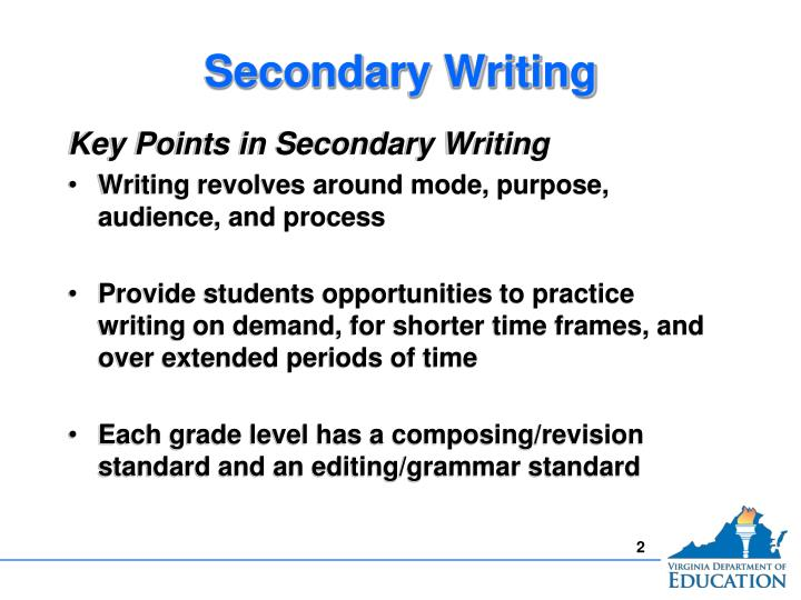 Secondary writing