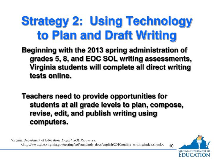 Strategy 2:  Using Technology to Plan and Draft Writing
