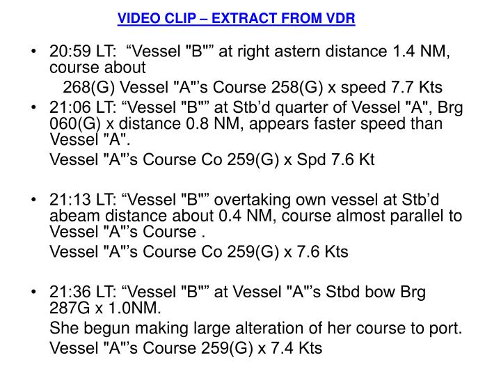 VIDEO CLIP – EXTRACT FROM VDR