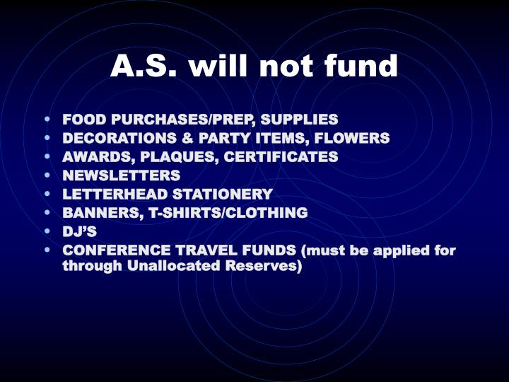 A.S. will not fund