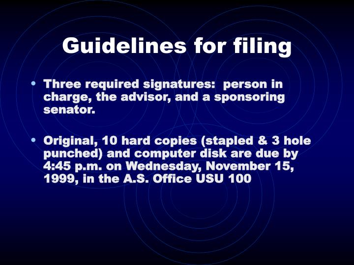 Guidelines for filing