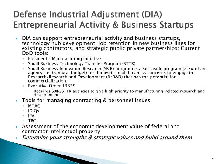 Defense Industrial Adjustment (DIA) Entrepreneurial Activity & Business Startups