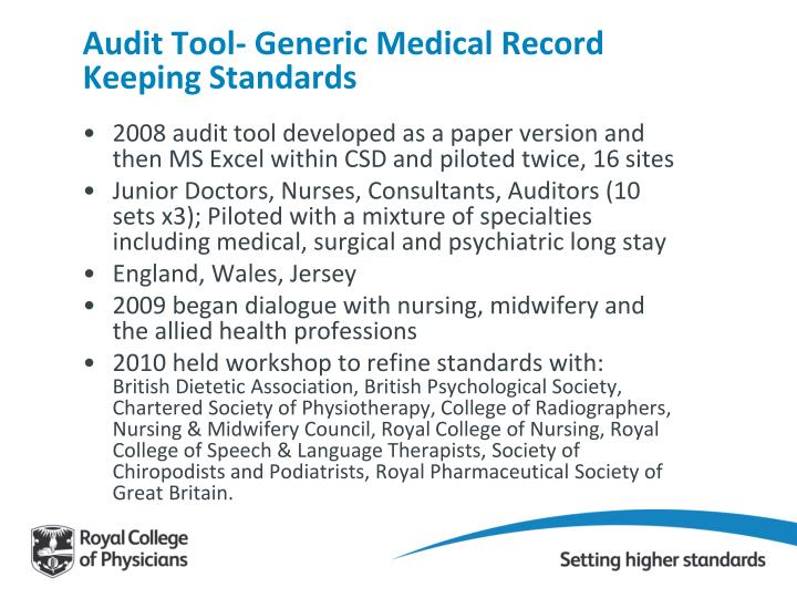 Audit Tool- Generic Medical Record Keeping Standards