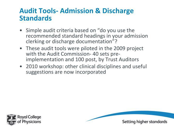 Audit Tools- Admission & Discharge Standards
