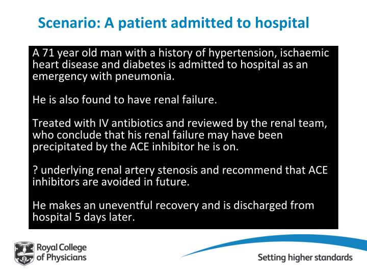 Scenario: A patient admitted to hospital