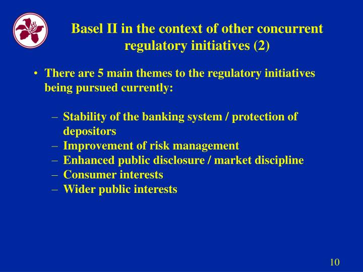 Basel II in the context of other concurrent regulatory initiatives (2)