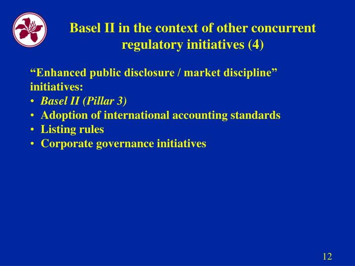 Basel II in the context of other concurrent regulatory initiatives (4)