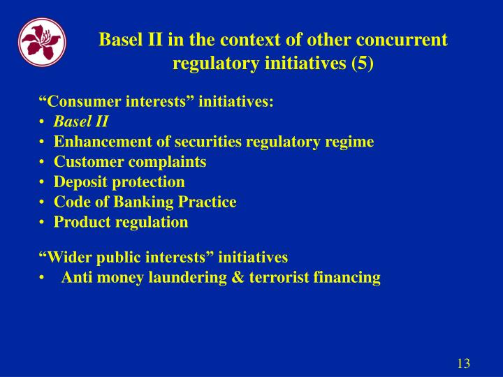 Basel II in the context of other concurrent regulatory initiatives (5)