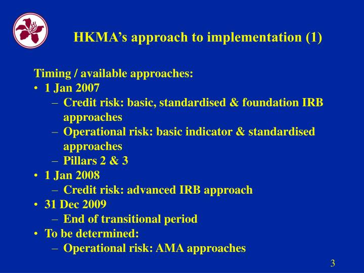 Hkma s approach to implementation 1