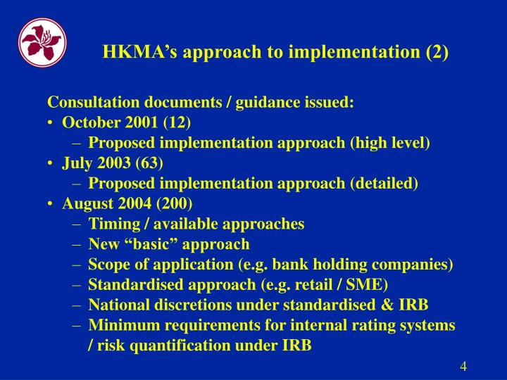 HKMA's approach to implementation (2)