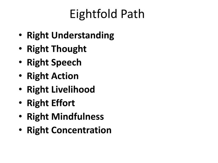 the eightfold path world religions buddha Eightfold path: eightfold path, in buddhism, an early formulation of the path to enlightenment the idea of the eightfold path appears in what is regarded as the.