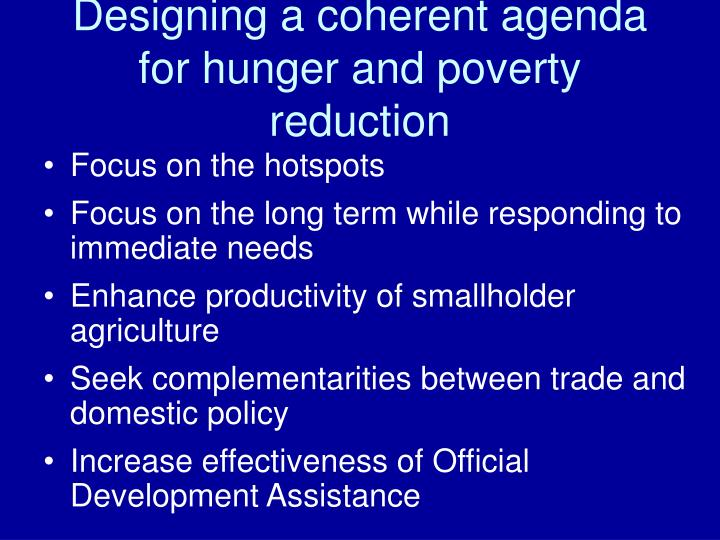 Designing a coherent agenda for hunger and poverty reduction