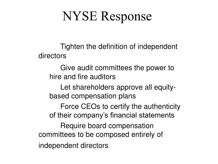 NYSE Response