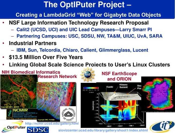 The optiputer project creating a lambdagrid web for gigabyte data objects
