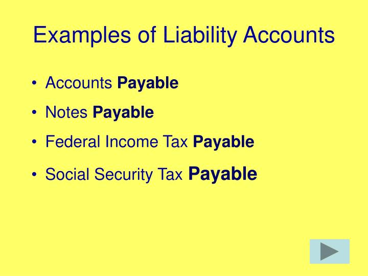 Examples of Liability Accounts