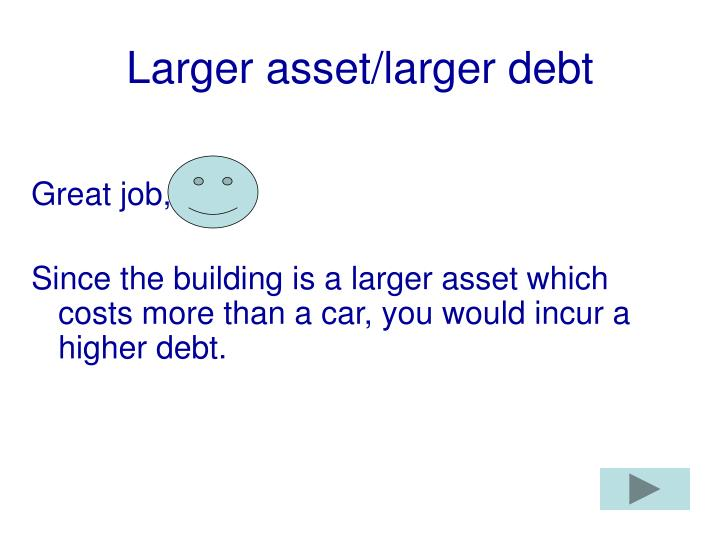 Larger asset/larger debt