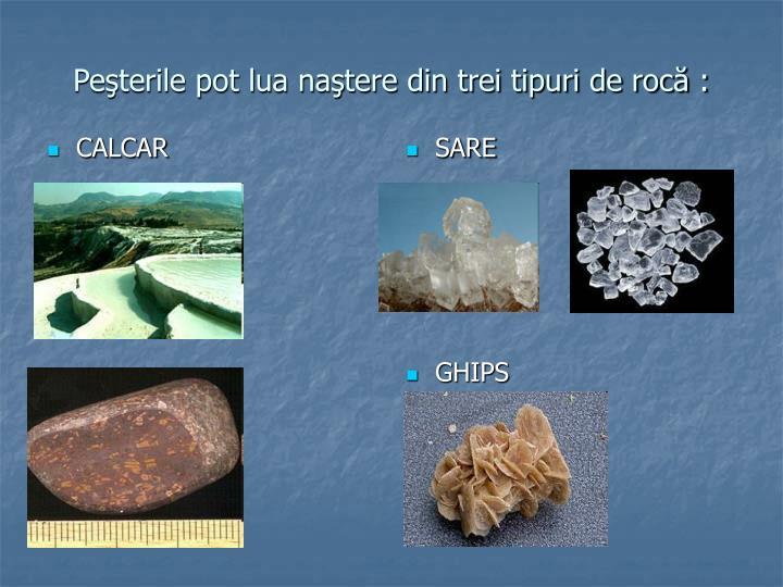 Peşterile pot lua naştere din trei tipuri de rocă :