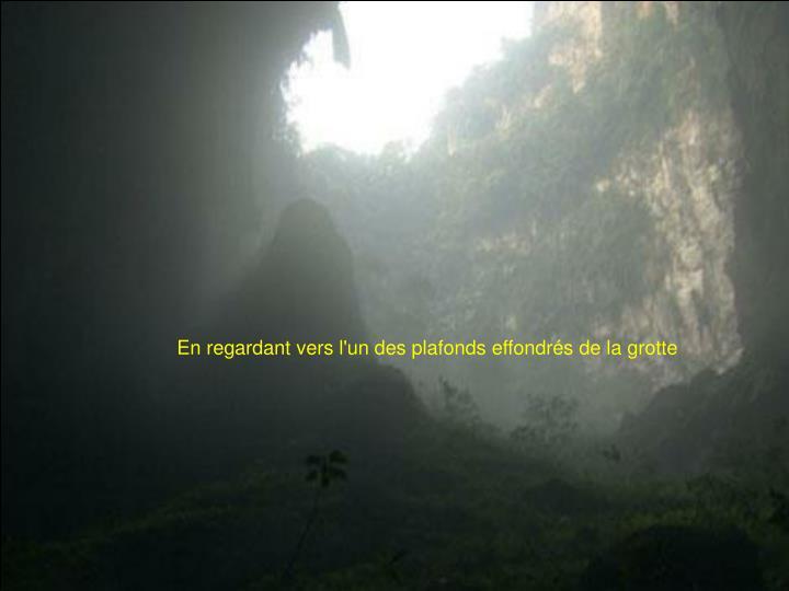 En regardant vers l'un des plafonds effondrés de la grotte