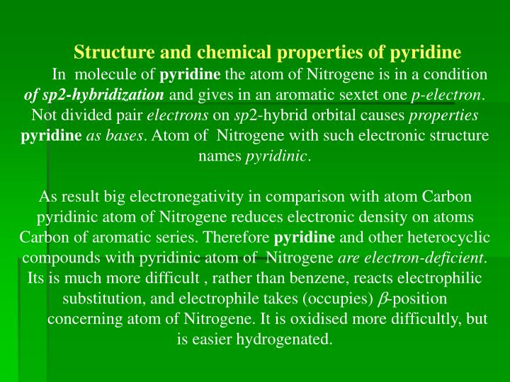 Structure and chemical properties of pyridine