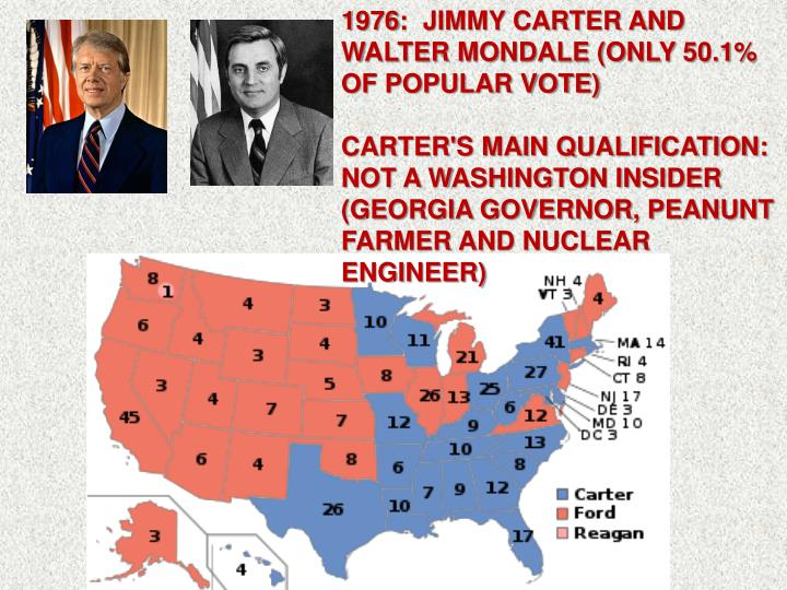 1976:  JIMMY CARTER AND WALTER MONDALE (ONLY 50.1% OF POPULAR VOTE)