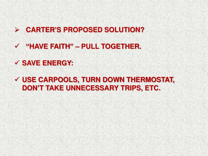 carter's proposed solution?