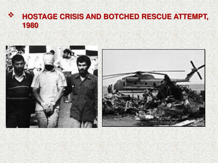 HOSTAGE CRISIS AND BOTCHED RESCUE ATTEMPT, 1980