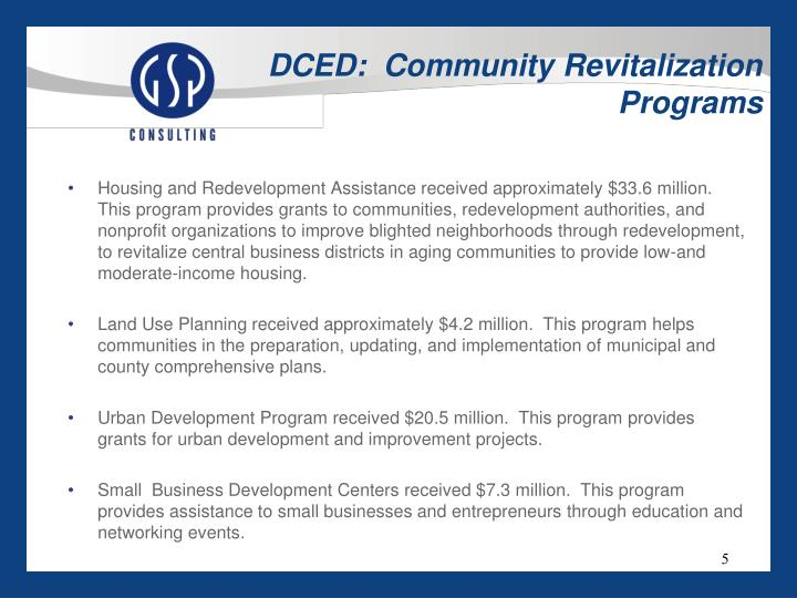 DCED:  Community Revitalization Programs