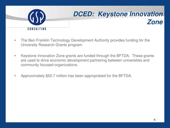 DCED:  Keystone Innovation Zone