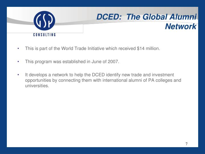 DCED:  The Global Alumni Network