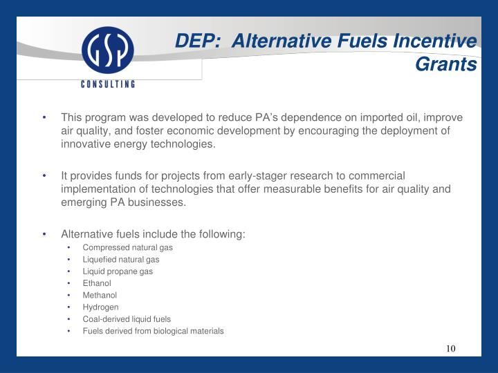 DEP:  Alternative Fuels Incentive Grants