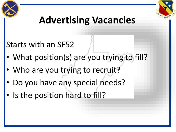 Advertising Vacancies