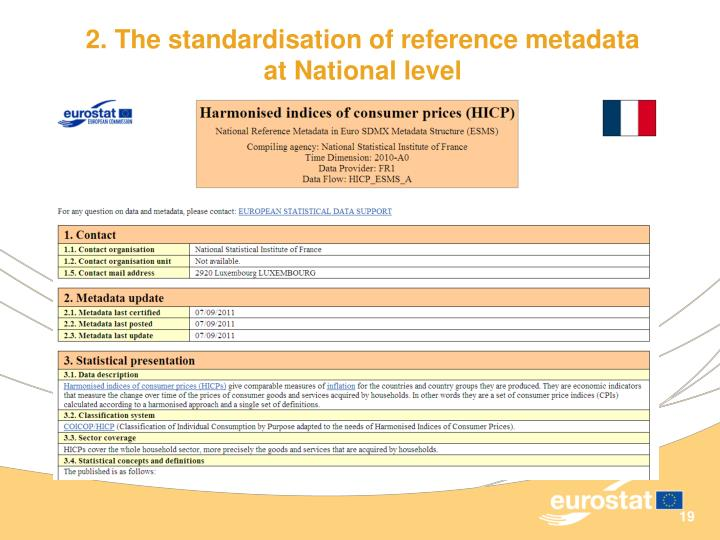 2. The standardisation of reference metadata