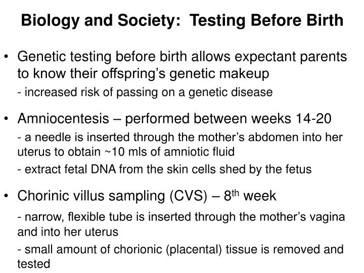 Biology and Society:  Testing Before Birth