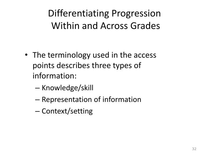 Differentiating Progression