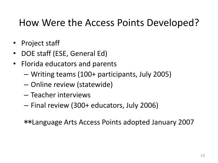 How Were the Access Points Developed?