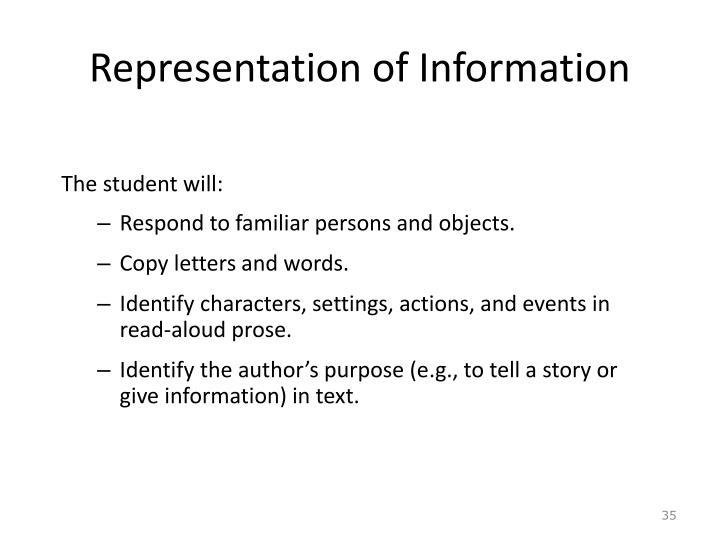 Representation of Information