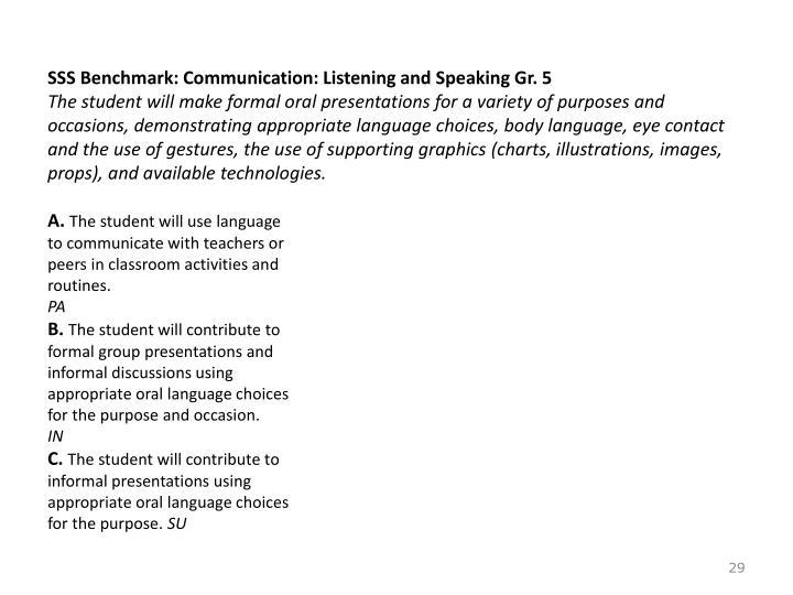 SSS Benchmark: Communication: Listening and Speaking Gr. 5