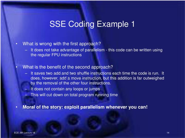 SSE Coding Example 1